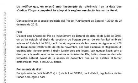 Últim ple ordinari de la legislatura 2015-2019